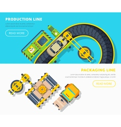 Production Line Horizontal Banners vector