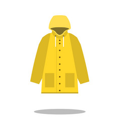raincoat yellow icon flat design of rain coat vector image