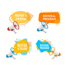 refer a friend concept label with abstract memphis vector image