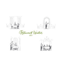 restaurant waiters - waiters in restaurants vector image