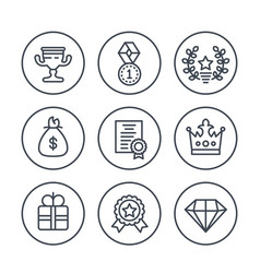 Rewards and prizes line icons on white vector