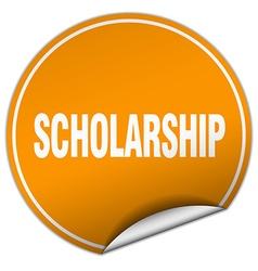 Scholarship round orange sticker isolated on white vector