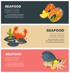 Seafood fresh fish menu web banners design vector