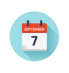 September 7 flat daily calendar icon date vector