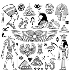 Set isolated egypt symbols vector