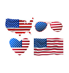 Set of american icon sunglasses flag heart map vector