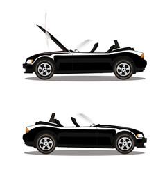 Set of broken cartoon black cabriolet sport car vector