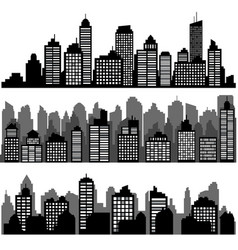 set of different black horizontal night cityscape vector image