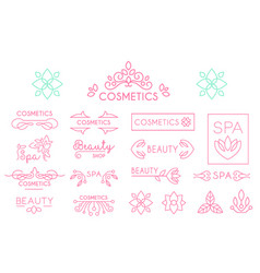 Set of linear spa and cosmetics logo vector