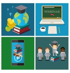 Set online education concept vector