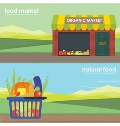 Shopping basket full of healthy organic banner set vector