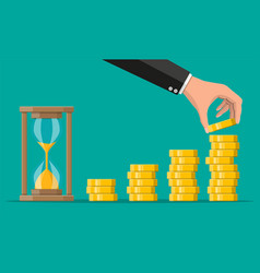 Stack gold coins and hourglass clock vector