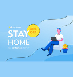 Stay home concept free contactless delivery vector