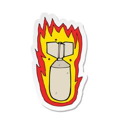 Sticker a cartoon flaming bomb vector