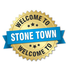 Stone town 3d gold badge with blue ribbon vector