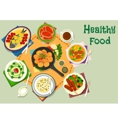 Tasty healthy dishes icon for food theme design vector image