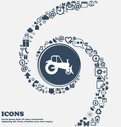 Tractor sign icon in the center Around the many vector image