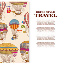 Travel banner with vintage bright hot air balloons vector