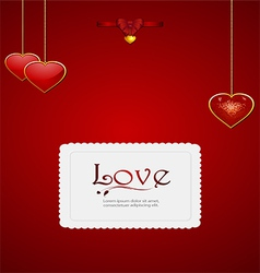 Valentine card with heart pendant and bow vector
