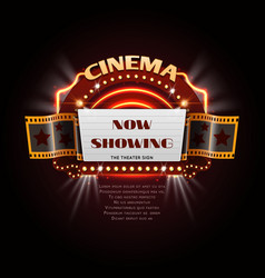Vintage cinema sign glowing movie signboard with vector