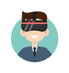 VR helmet man flat icon vector image