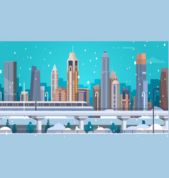Winter city landscape buildings in snow merry vector