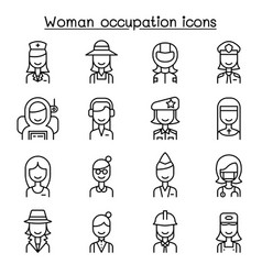 Woman occupation career icon set in thin line vector