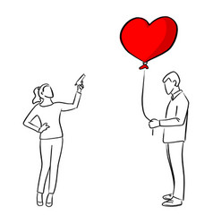 Woman trying to shoot the red heart shape balloon vector