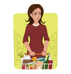 Woman with shopping cart vector