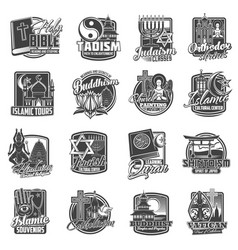 world religions icons buddhism and christianity vector image
