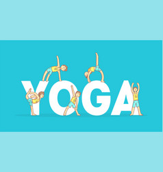 Yoga banner template boy practicing asana poses vector