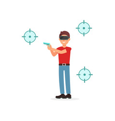 young man shooting gun playing video game in vector image