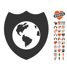 Earth shield icon with dating bonus vector