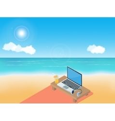 Sea beach laptop and headphones vector image