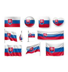set slovakia flags banners banners symbols vector image