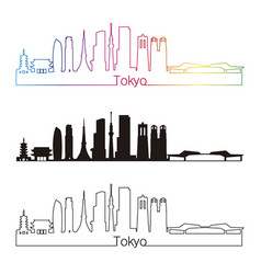 tokyo v3 skyline linear style with rainbow vector image vector image