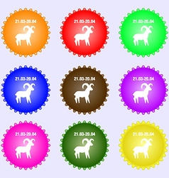 Decorative Zodiac Aries icon sign Big set of vector image vector image
