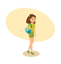 girl with bag on her shoulder goes to training vector image vector image