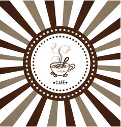 hand drawn cup of hot coffee on radiant background vector image vector image