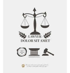 Law firm logos lawyer weight and gavel attorney vector image vector image