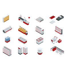 isometric set elements for super market vector image vector image