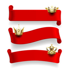 red ribbons with gold crowns vector image vector image