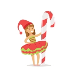 Girl With Giant Candy Cane Stick Dressed As Santa vector image vector image