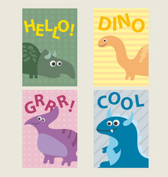 Set of 4 cards templates with dinosaurs for vector