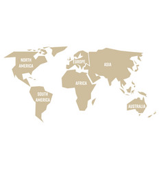 simplified beige silhouette of world map divided vector image vector image