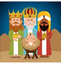 three wise kings baby jesus manger vector image