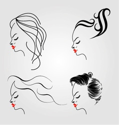 Women with different hairstyles vector image