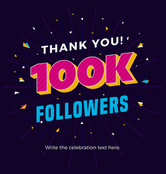 100k followers card banner post template for vector