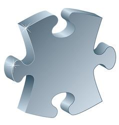 3d metallic puzzle piece vector