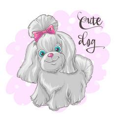 a cute little dog print vector image
